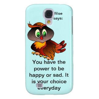 El búho sabio feliz inspirado dice la piel del iPh