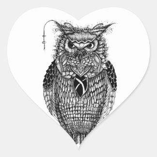 El búho sabio colcomanias corazon