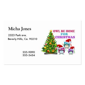 El búho sea casero para el navidad tarjetas de visita