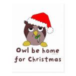 El búho sea hogar tarjeta postal
