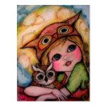 El búho tiene solamente ojos para usted - arte del postal