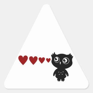 El búho ve el amor I Pegatina Triangular