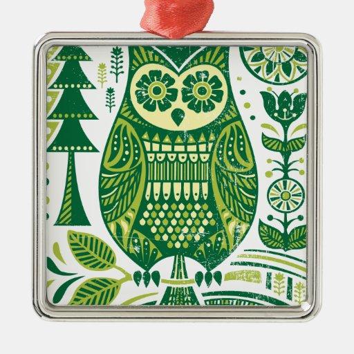 El búho verde ornamento para reyes magos