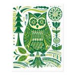 El búho verde postal