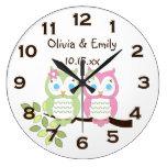 El búho verde rosado caprichoso lindo hermana el r relojes