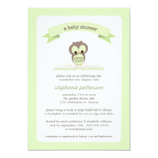 El búho verde trae una invitación de la fiesta de invitación 12,7 x 17,8 cm