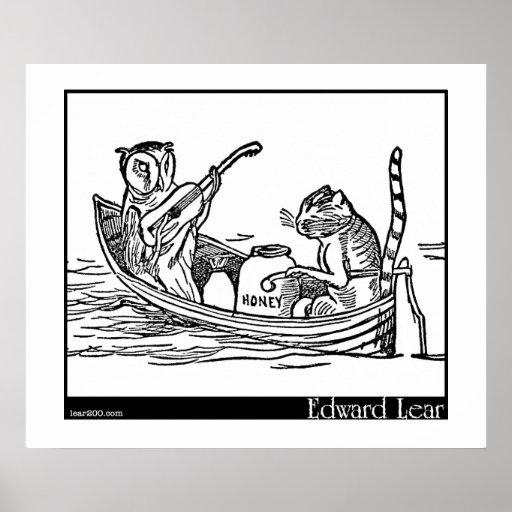El búho y el minino de Edward Lear Poster