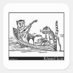 El búho y el minino de Edward Lear Pegatina Cuadrada