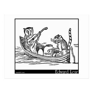 El búho y el minino de Edward Lear Tarjetas Postales