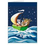 el búho y el minino fueron al mar tarjetas