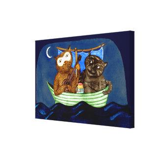 El búho y el minino lienzo envuelto para galerias