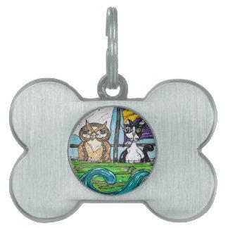 El búho y el minino placas de mascota