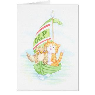 El búho y el minino tarjeta de felicitación