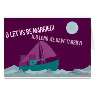 el búho y la invitación de boda del minino tarjeta de felicitación