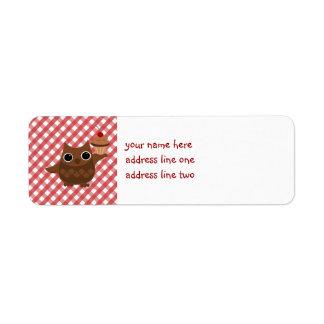El búho y la magdalena etiqueta de remitente