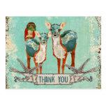 El búho y los ciervos color de rosa del azul le ag tarjetas postales