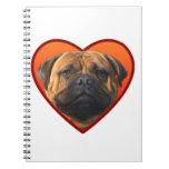 El bullmastiff de la tarjeta del día de San Valent Spiral Notebooks