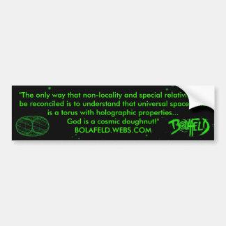 El buñuelo cósmico etiqueta de parachoque