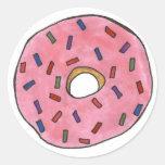 El buñuelo helado rosa con asperja etiqueta