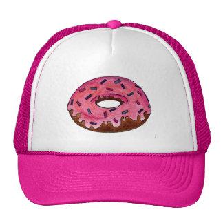 El buñuelo helado rosa del buñuelo asperja el gorra