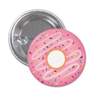 El buñuelo rosado con el arco iris asperja pin redondo de 1 pulgada