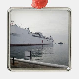 El buque hospital militar del comando del Sealift Adorno Navideño Cuadrado De Metal