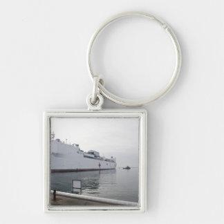El buque hospital militar del comando del Sealift Llavero Cuadrado Plateado