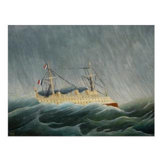 El buque sacudido por la tempestad tarjeta postal