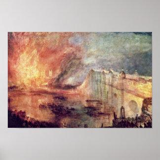 El Burning de las casas del parlamento de Turner Impresiones
