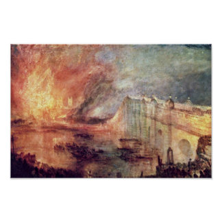 El Burning de las casas del parlamento de Turner Póster
