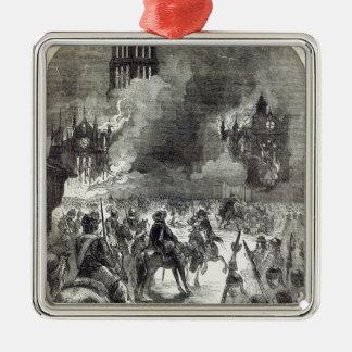 El burning de San Pablo viejo, 1666 Adorno Cuadrado Plateado