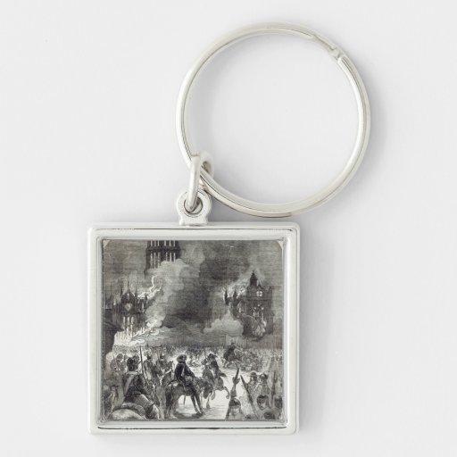 El burning de San Pablo viejo, 1666 Llavero Cuadrado Plateado