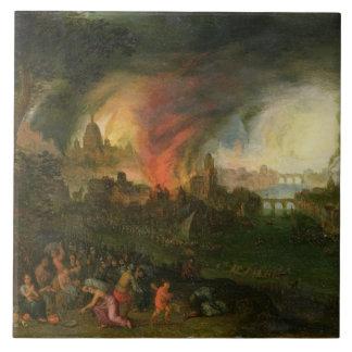 El Burning de Troy (aceite en el cobre) Azulejo Cuadrado Grande