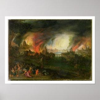El Burning de Troy (aceite en el cobre) Póster