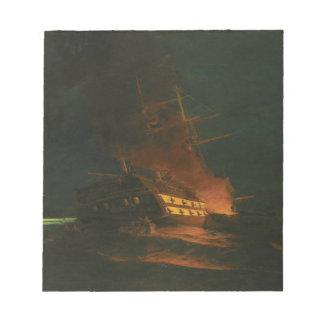 El burning de una fragata turca de Konstantinos Libreta Para Notas