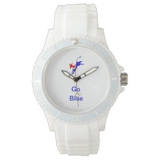 El burro Democratic y va reloj blanco azul
