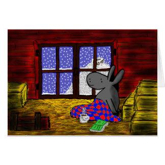 el burro mira la nieve tarjeta de felicitación