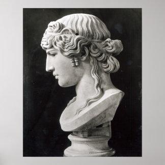 El busto de Antinous llamó 'Antinous Mondragone Póster
