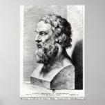 El busto de Platón grabó por Lucas Emilio Poster