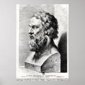 El busto de Platón grabó por Lucas Emilio Póster