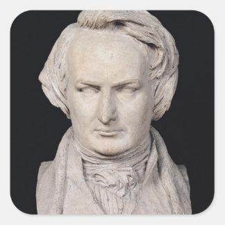 El busto de Victor Hugo envejeció 35, 1837 Pegatina Cuadradas Personalizadas
