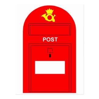 El buzón de correos rojo postales