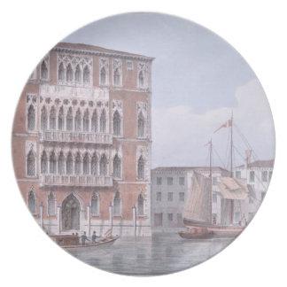 El Ca Foscari, Venecia, grabada por Brizeghel (li Plato De Cena