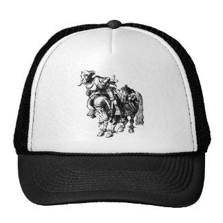 El caballero blanco que caía de su caballo entintó gorra