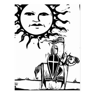 El caballero debajo de Sun hace frente Postal