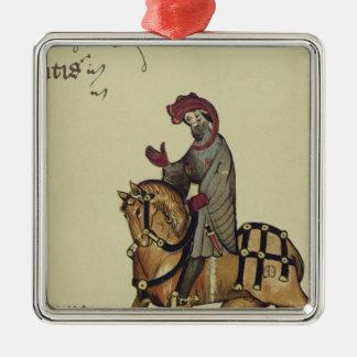 El caballero, detalle del facsímil de adorno navideño cuadrado de metal