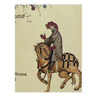 El caballero, detalle del facsímil de postal