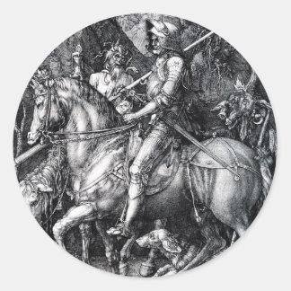 El caballero, muerte y el diablo de Albrecht Durer Pegatina Redonda