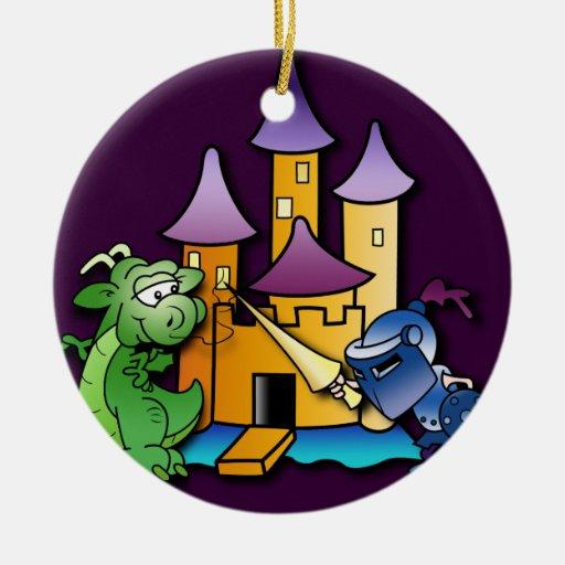 El caballero y el dragón adorno navideño redondo de cerámica