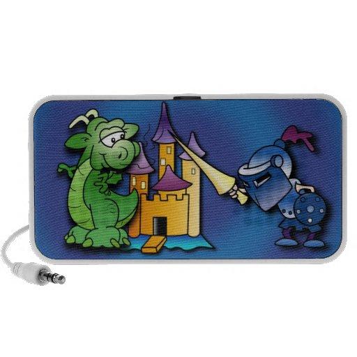 El caballero y el dragón laptop altavoz